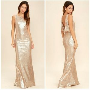 Lulus Matte Rose Gold Sequin Drape Back maxi Dress